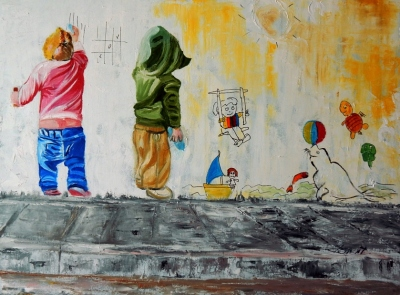 Two Naughty Children painting on wall