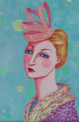 Woman with hat - portrait painting