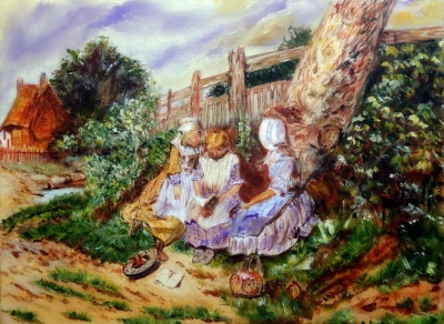 Three Girls Reading in the Garden