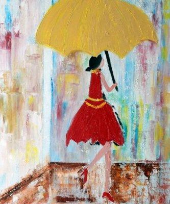 Lady Walking in the Rain