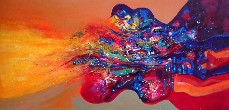 Morning glory - Abstract flowing painting